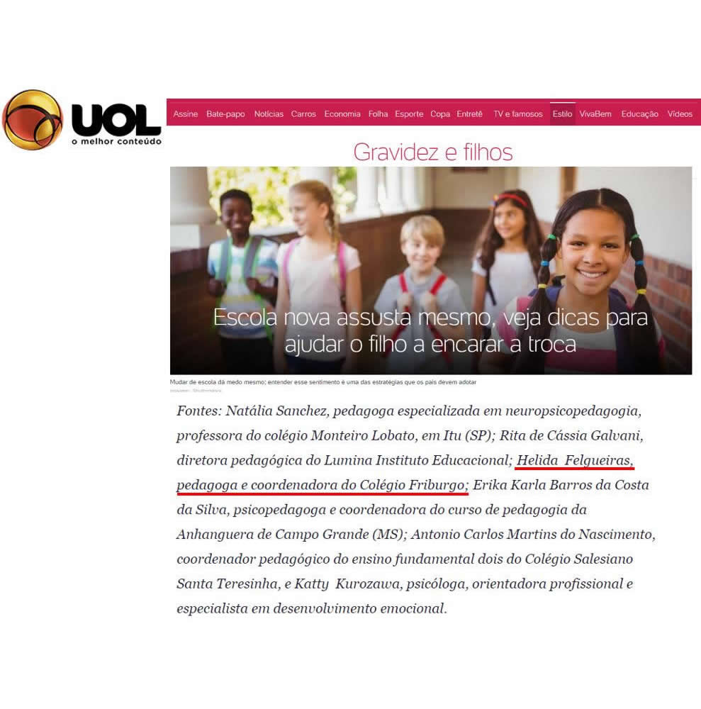 Cliente Colégio Friburgo no UOL