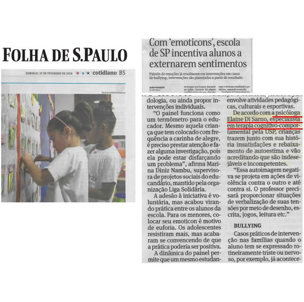Cliente Elaine Di Sarno Psicóloga - Veículo Folha de S. Paulo