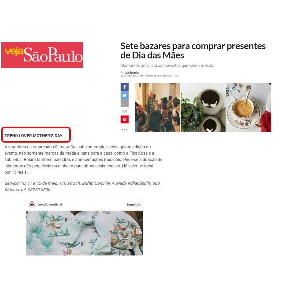 Cliente Trend Lover na Veja São Paulo