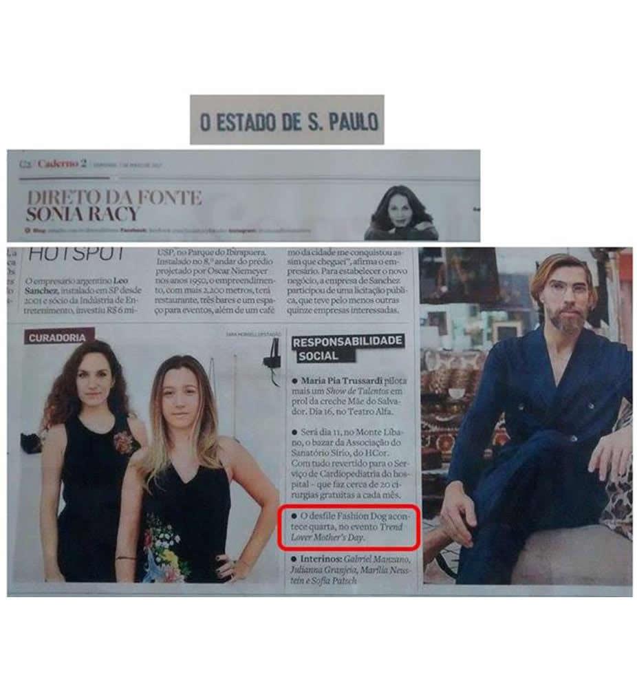 Cliente Trend Lover no Estadão - Coluna Sonia Racy