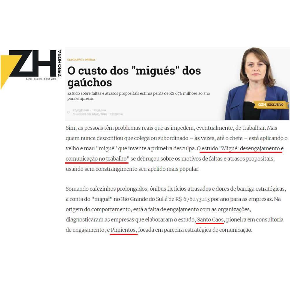 Clientes Santo Caos e Pimientos - Jornal Zero Hora RS