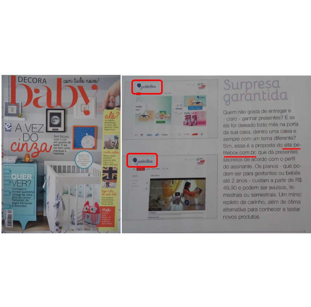 Clipente PetiteBox na Revista Decora Baby
